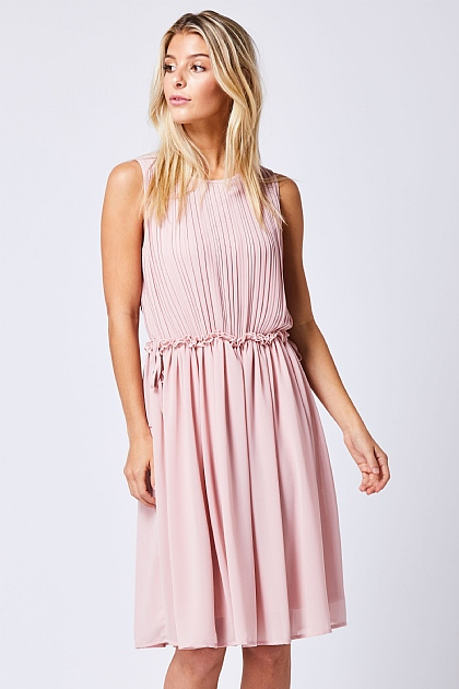 Light Pink Pleated Sleeveless Mini Dress