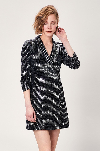 Black Silver Mirror Sequin Patterned Blazer Dress