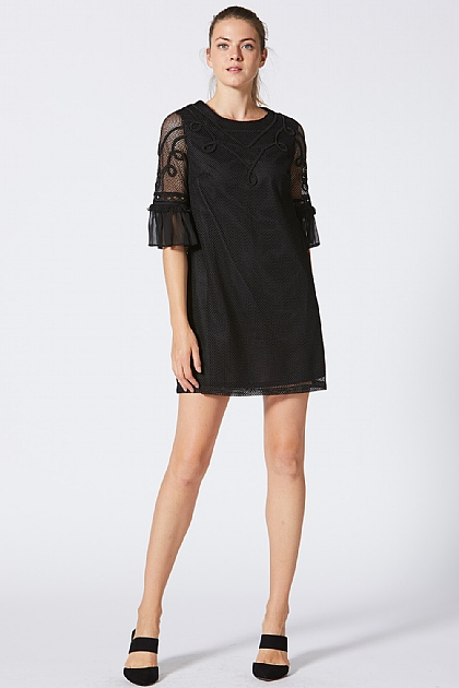 Black Lace T-Shirt Dress with Embroidered Detail
