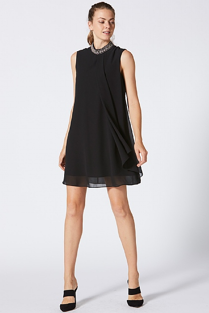 Black Halterneck Dress with Beaded Neck