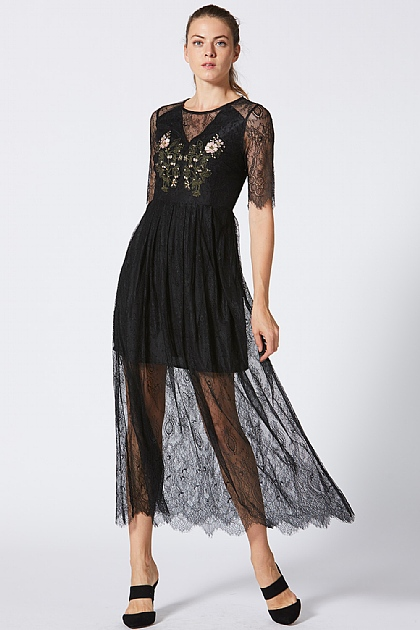 Black Mesh Lace Maxi Dress