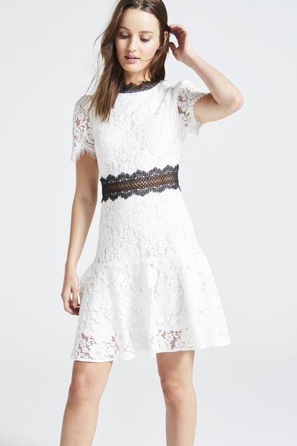 White Lace Dress With Black Details