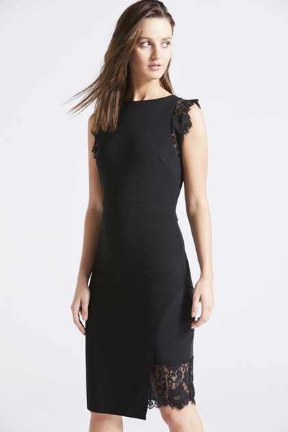 Black Sleeveless Lace Trim Pencil Dress
