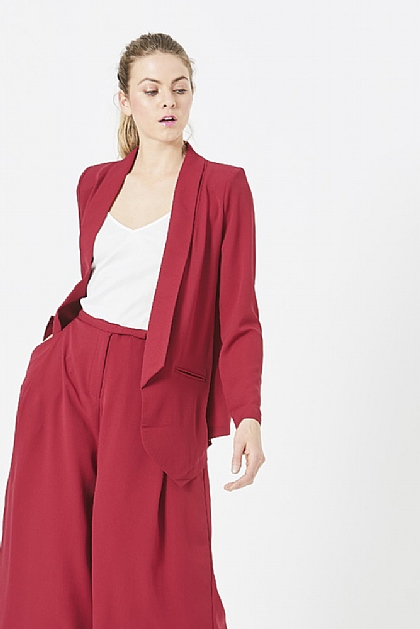 Red Lapel Blazer Coord Jacket