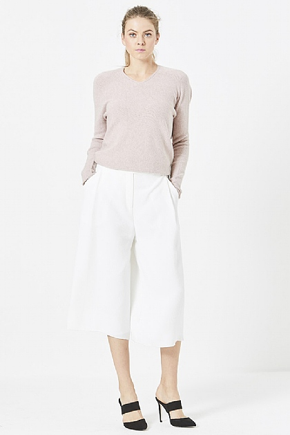 White Wide Leg Cropped Culottes