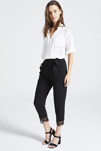 Black Peg Trousers with Lace Trim