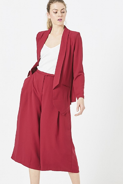 Red Tailored Cropped Culottes