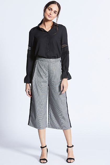 Checked Cropped Black Stripe Trousers
