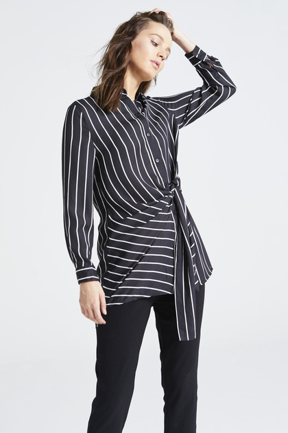 Black Striped Front Tie Shirt Top