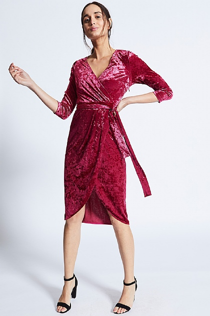 Wine Velvet Wrap Midi Dress