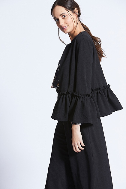 Black Flute Sleeve Cropped Jacket