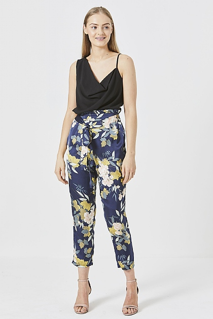 Navy Floral Paper-bag Tailored Trousers