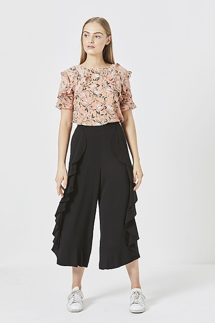 Black Ruffled Layered Cropped Cullottes