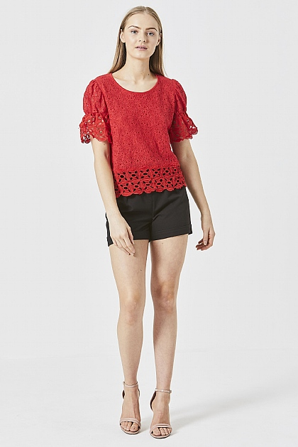 Red Lace Blouse with Flute Hem Detail