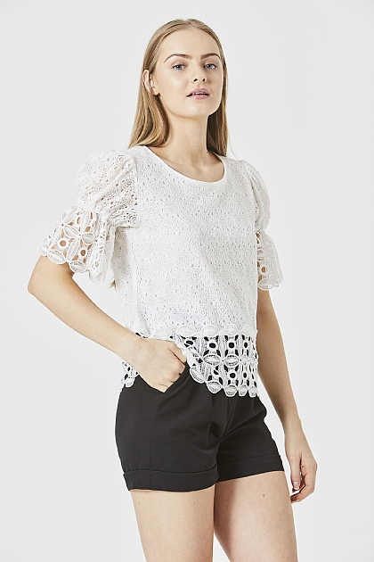 White Lace Blouse with Flute Hem Detail