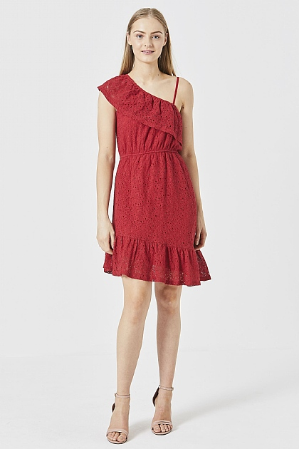 Red Off-The-Shoulder Lace Dress