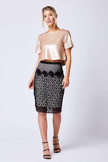 Lace Mesh Layered Black Evening Skirt