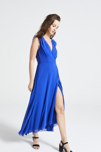 Blue V Neck Maxi Dress with Side Slit