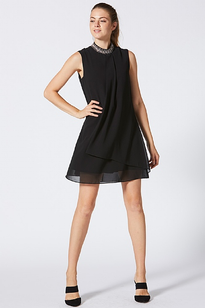 Black Sleeveless Embellished Choker Shift Dress
