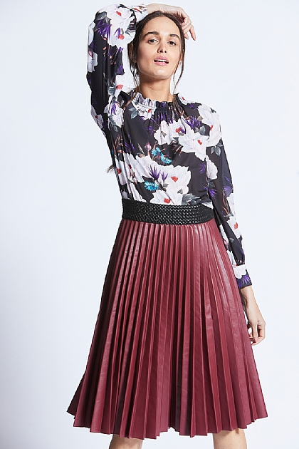 Black High Neck Floral Silky Blouse