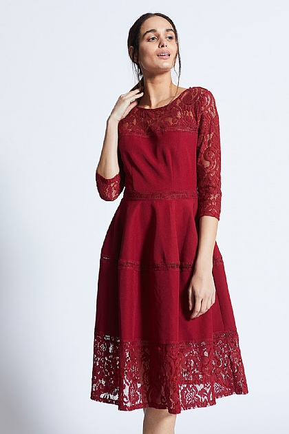 Burgundy Lace Mid Length Sleeves Midi Dress