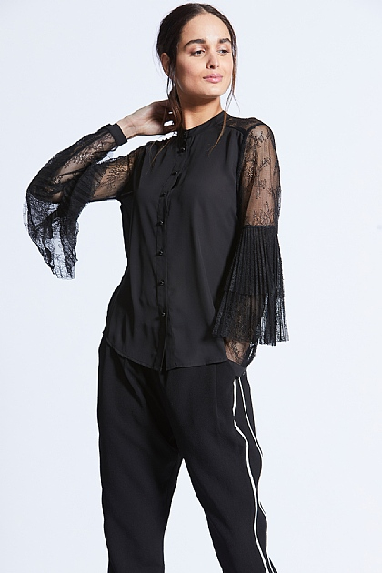 Black Lace Panel Flute Sleeve Shirt
