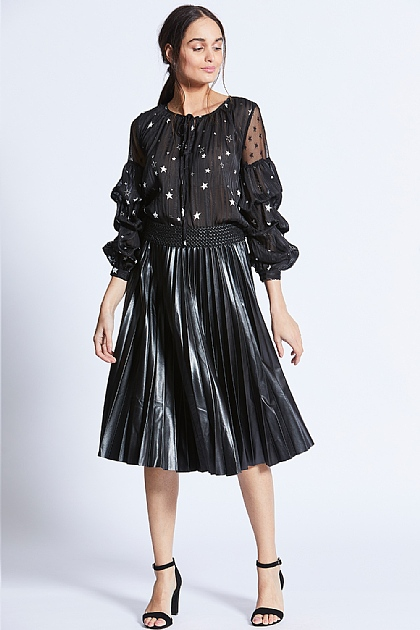 Black Pleated Faux Leather Skirt