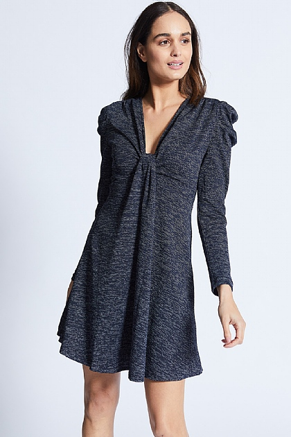 Navy knot front long sleeved dress.