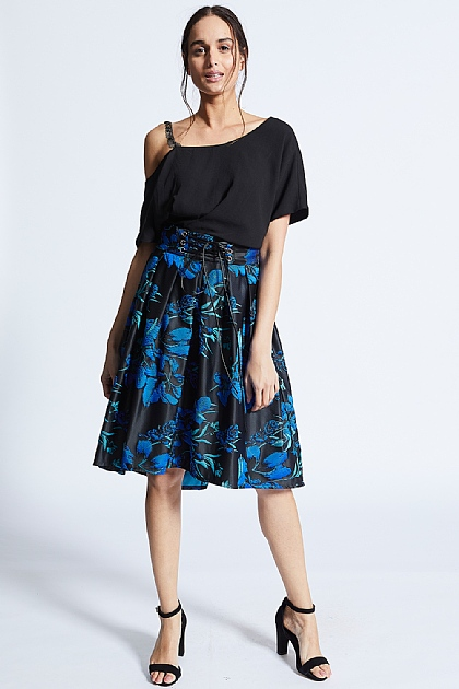 Blue On Black Floral Embroidered Tie Skirt
