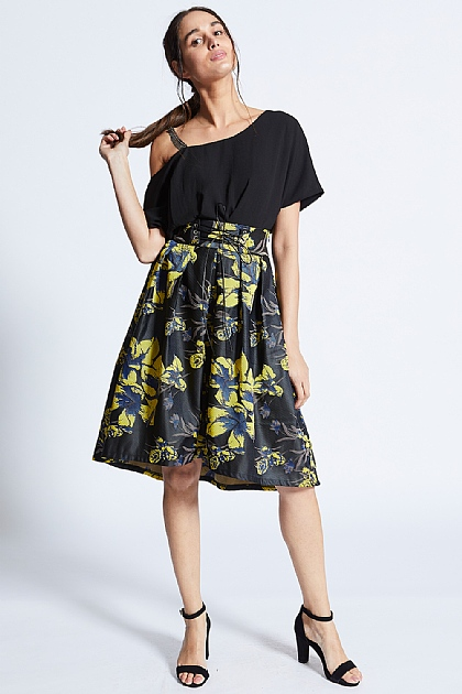 Yellow On Black Floral Embroidered Tie Skirt