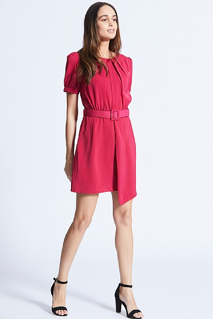 Pink Smart Mini Dress with Matching Belt
