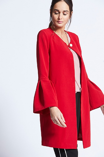 Red Flute Sleeved Coat