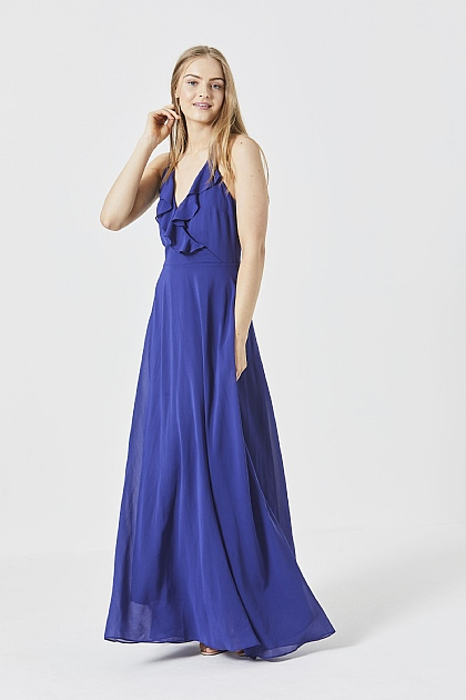 Blue Cami Ruffled Maxi Dress