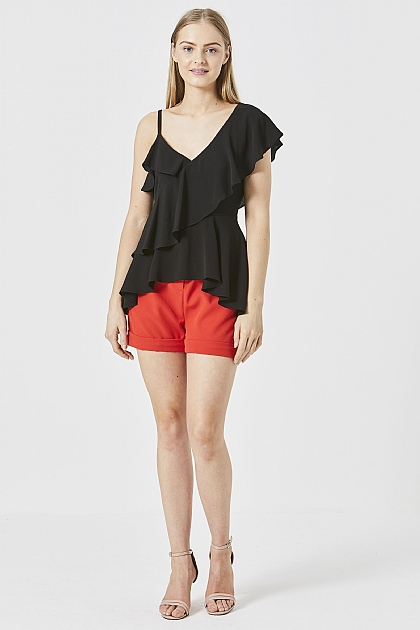 Black One Shoulder Ruffle Layered Top