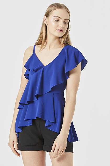 Blue One Shoulder Ruffle Layered Top