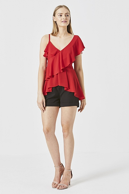 Red One Shoulder Ruffle Layered Top
