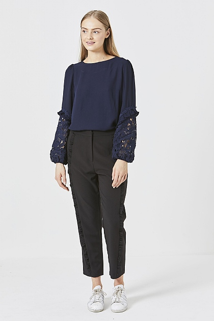 Navy Long Sleeved Blouse with Lace Detail