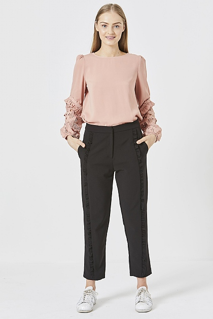 Pink Long Sleeved Blouse with Lace Detail