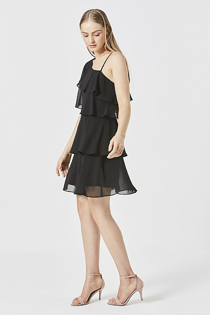 One Shoulder Ruffled Layered Mini Dress in Black