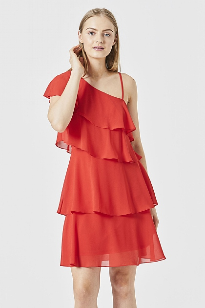 One Shoulder Ruffled Layered Mini Dress in Red