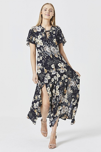 Navy Floral Maxi Dress with Key Hole Front