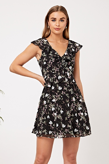 Ruffled V Neck Floral Mini Dress in Black