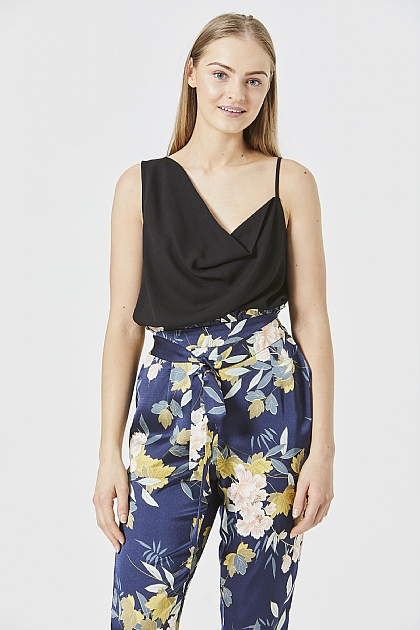 Black One Shoulder Cami Top