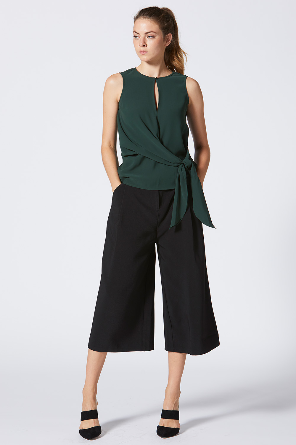 Green Front Twist Blouse