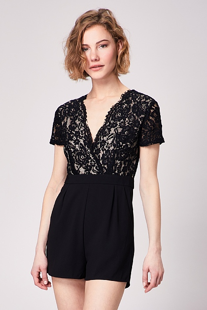 Blace Lace Wrap Front Short Sleeve Mini Playsuit