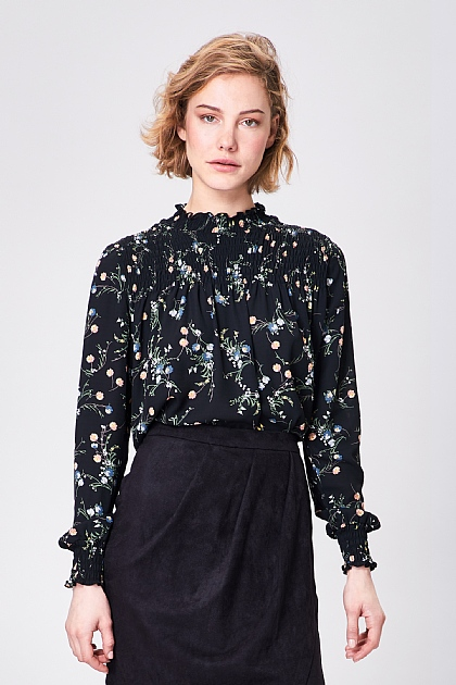 Black Floral High Neck Puff Sleeve Blouse