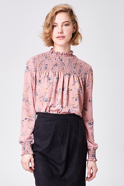 Pink Floral High Neck Puff Sleeve Blouse