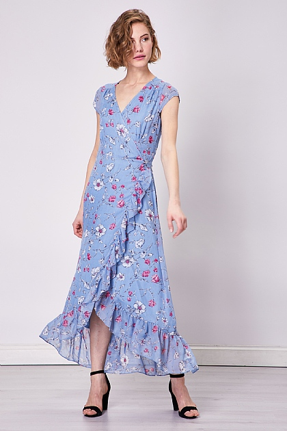 Blue Floral Midi Wrap Dress