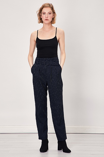 Navy Pinstripe Self Belted Smart Trousers