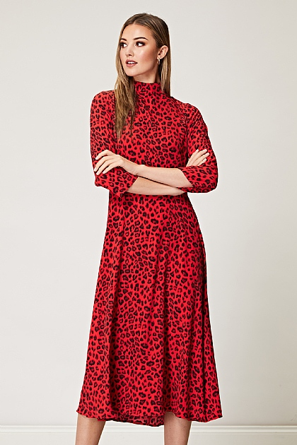 Red Leopard High Neck Tie Back Midi Dress